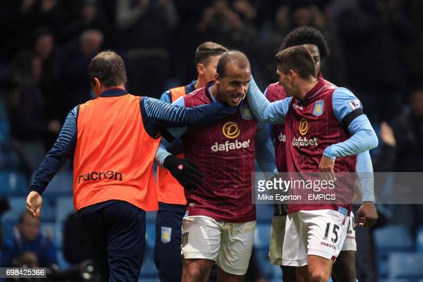 Aston Villa's Gabriel Agbonlahor celebrates his goal with teammate Ashley Westwood