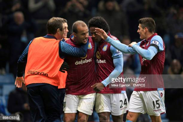 Aston Villa's Gabriel Agbonlahor celebrates his goal with teammates Carlos Sanchez and Ashley Westwood