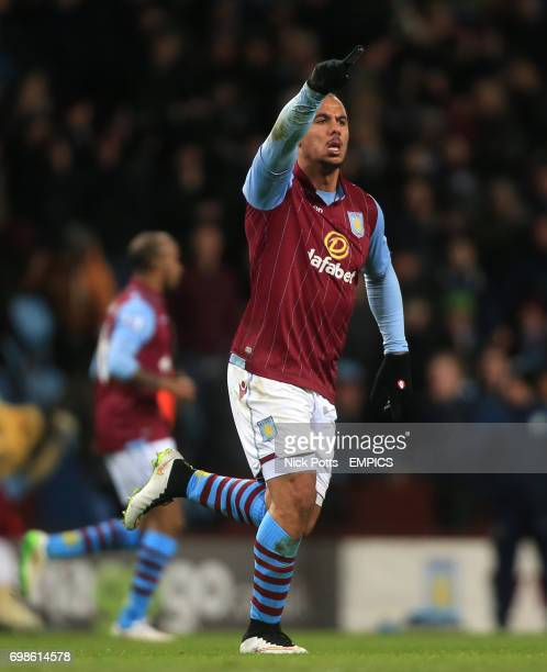 Aston Villa's Gabriel Agbonlahor celebrates scoring his side's first goal of the game
