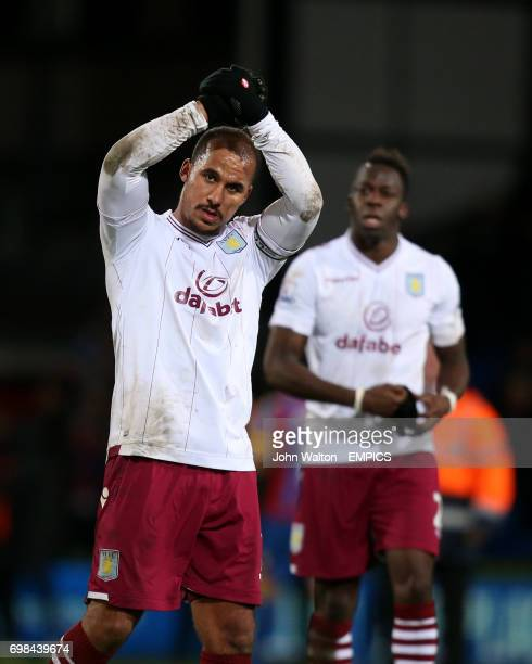 Aston Villa's Gabriel Agbonlahor celebrates their victory at the end of the match