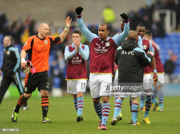 Aston Villa's Gabriel Agbonlahor celebrates victory after the final whistle