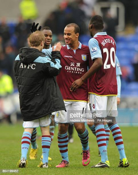 Aston Villa's Gabriel Agbonlahor celebrates victory after the final whistle with teammates