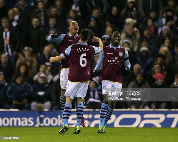 Aston Villa's Gabriel Agbonlahor celebrates with his teammate Ciaran Clark after scoring his team's second goal