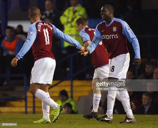Aston Villa's Gabriel Agbonlahor congratulates new team mate Emile Heskey on scoring the opening goal