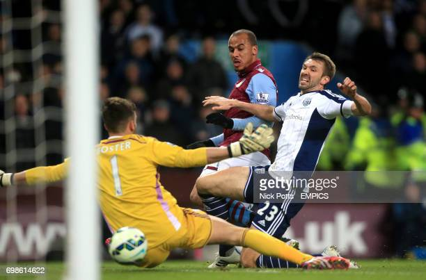 Aston Villa's Gabriel Agbonlahor scores his side's first goal of the game