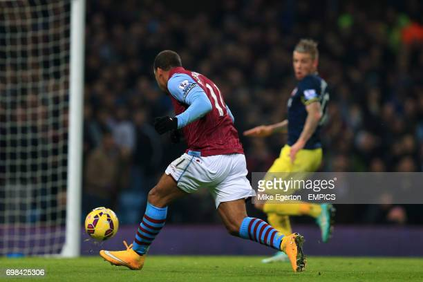 Aston Villa's Gabriel Agbonlahor scores his side's first goal