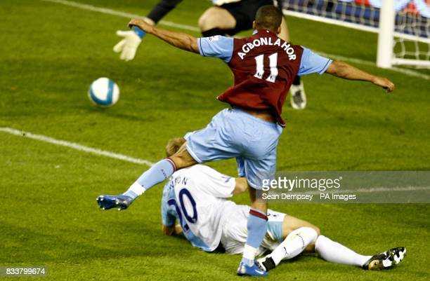 Aston Villa's Gabriel Agbonlahor scores his teams third goal