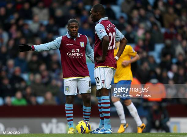 Aston Villa's George N'Zogbia and Christian Benteke prepare to kick off after Southampton scored during the Barclays Premier League match at Villa...