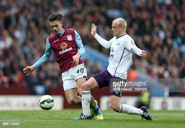 Aston Villa's Jack Grealish and Everton's Steven Naismith