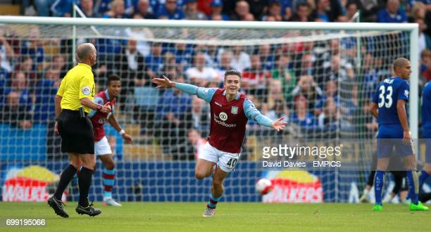 Aston Villa's Jack Grealish celebrates scoring his side's first goal of the game