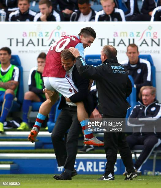 Aston Villa's Jack Grealish celebrates scoring his side's first goal of the game with manager Tim Sherwood on the touchline
