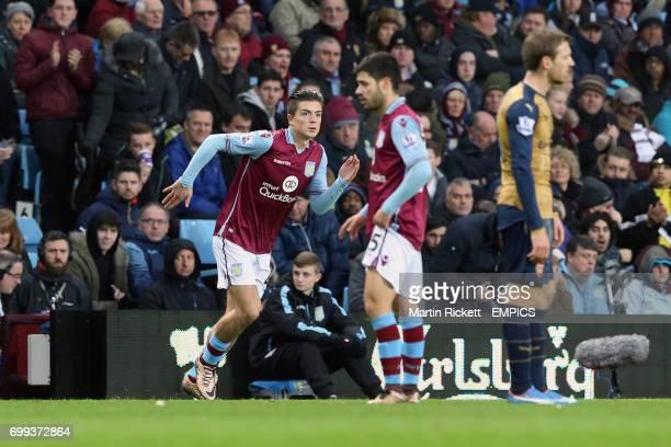 Aston Villa's Jack Grealish runs onto the pitch
