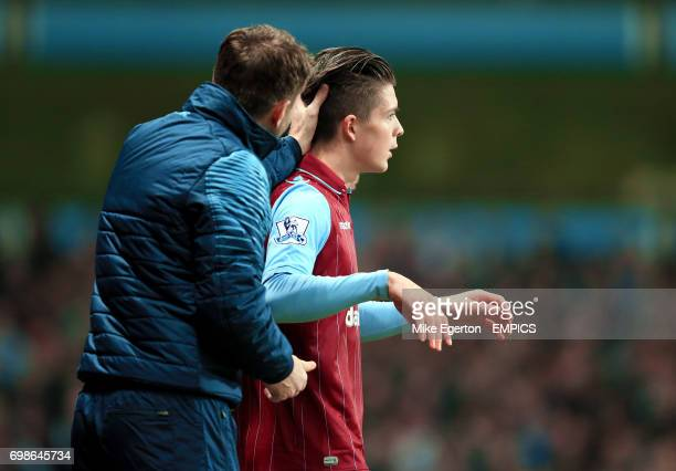 Aston Villa's Jack Grealish with manager Aston Villa manager Tim Sherwood l