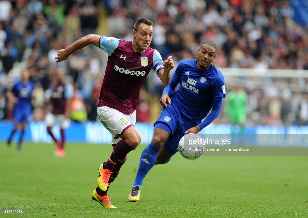 Aston Villa's John Terry in action during the Sky Bet Championship match between Cardiff City and Aston Villa at Cardiff City Stadium on August 12, 2017 in Cardiff, Wales.
