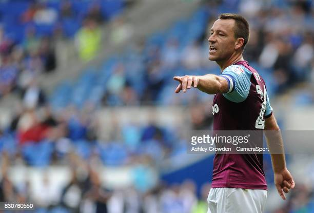 Aston Villa's John Terry shouts instructions during the Sky Bet Championship match between Cardiff City and Aston Villa at Cardiff City Stadium on...