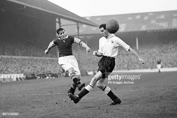 Aston Villa's Johnny Dixon fires in a shot