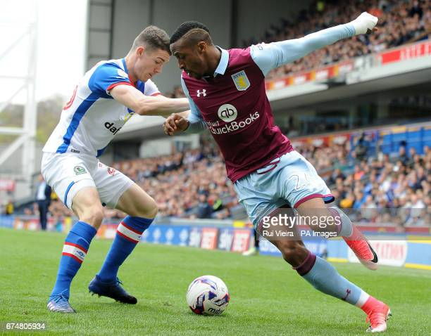 Aston Villa's Jonathan Kodjia and Blackburn's Darragh Lenihan battle for the ball during the Sky Bet Championship match at Ewood Park Blackburn