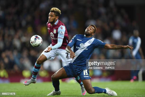 Aston Villa's Jordan Amavi and Birmingham City's Jacques Maghoma battle for the ball