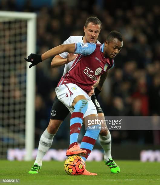 Aston Villa's Jordan Ayew and Everton's Phil Jagielka battle for the ball