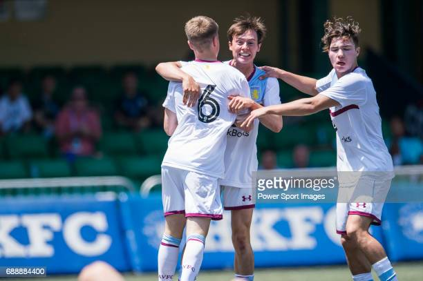 Aston Villa's Jordan Cox Callum and O Hare are cheering after score a goal during their Main Tournament match part of the HKFC Citi Soccer Sevens...