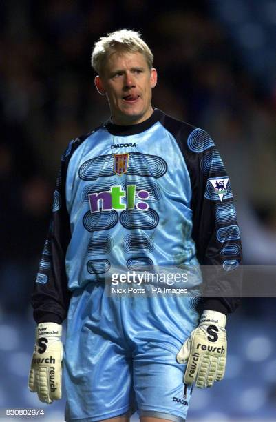 Aston Villa's keeper Peter Schmeichel dejected after defeat during the 02 against Leicester City during Barclaycard Premiership game at Villa Park...