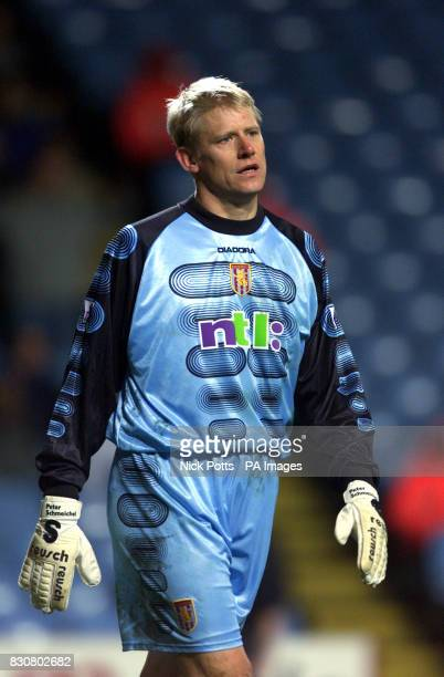 Aston Villa's keeper Peter Schmeichel dejected after defeat during the 02 against Leicester City during the Barclaycard Premiership game at Villa...