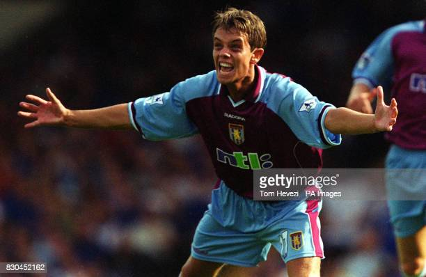 LEAGUE Aston Villa's Lee Hendrie scoring Villa's first goal against Ipswich during their FA Premiership football match at Ipswich's Portman Road...