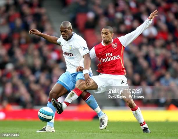 Aston Villa's Marlon Harewood and Arsenal's Gael Clichy battle for the ball