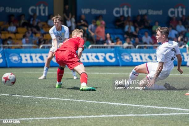 Aston Villa's Mitch Clark kick the ball during their Main Tournament match part of the HKFC Citi Soccer Sevens 2017 on 27 May 2017 at the Hong Kong...