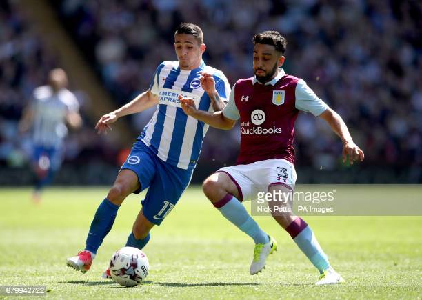 Aston Villa's Neil Taylor and Brighton Hove Albion's Anthony Knockaert battle for the ball during the Sky Bet Championship match at Villa Park...