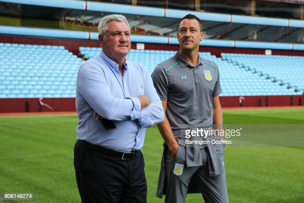 Aston Villa's new signing John Terry and manager Steve Bruce during the press conference at Villa Park on July 3 2017 in Birmingham England