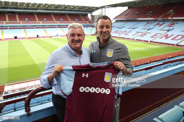 Aston Villa's new signing John Terry manager Steve Bruce and Chairman Keith Wyness during the press conference at Villa Park on July 3 2017 in...