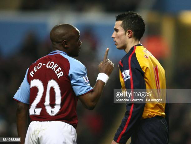 Aston Villa's Nigel ReoCoker and Arsenal's Robin Van Persie square up to each other after a battle for the ball