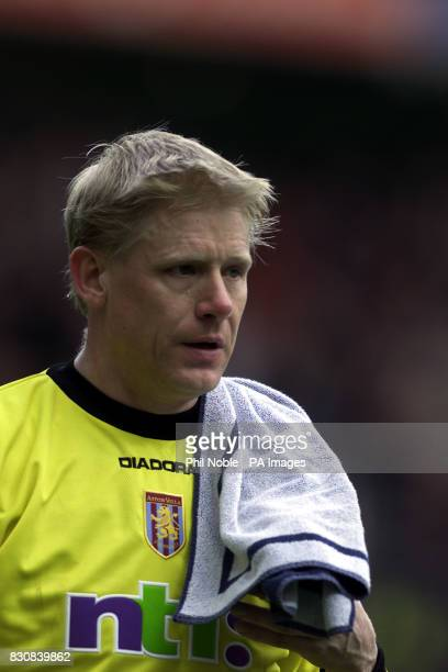 Aston Villa's Peter Schmeichel during the FA Barclaycard Premiership match against Manchester United at Old Trafford Manchester THIS PICTURE CAN ONLY...