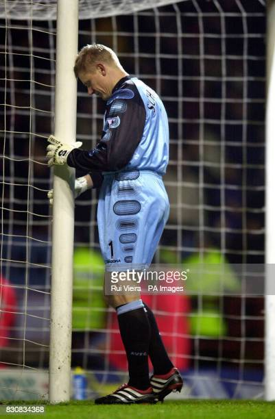 Aston Villa's Peter Schmeichel during the FA Cup Third Round between Aston Villa and Manchester United at Villa Park Birmingham THIS PICTURE CAN ONLY...