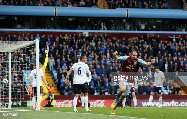 Aston Villa's Ron Vlaar celebrates after Christian Benteke scores his sides second goal of the game