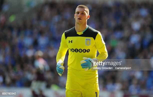 Aston Villa's Sam Johnstone during the Sky Bet Championship match between Cardiff City and Aston Villa at Cardiff City Stadium on August 12 2017 in...