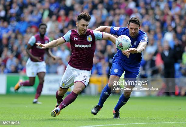 Aston Villa's Scott Hogan in action during the Sky Bet Championship match between Cardiff City and Aston Villa at Cardiff City Stadium on August 12...