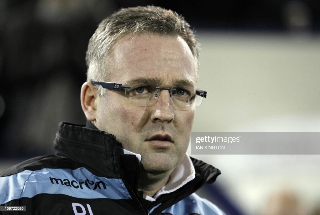 """Aston Villa's Scottish Manager Paul Lambert awaits kick off in the English Premier League football match between West Bromwich Albion and Aston Villa at The Hawthorns in West Bromwich on January 19, 2013. AFP PHOTO/Ian KINGTON - RESTRICTED TO EDITORIAL USE. No use with unauthorized audio, video, data, fixture lists, club/league logos or """"live"""" services. Online in-match use limited to 45 images, no video emulation. No use in betting, games or single club/league/player publications."""