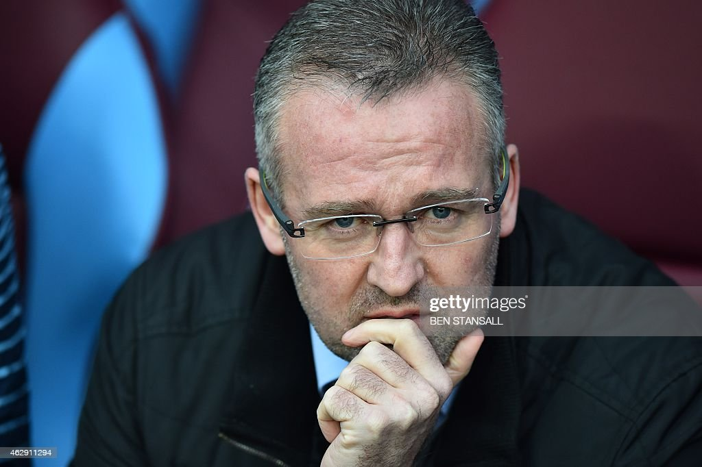 Aston Villa's Scottish manager <a gi-track='captionPersonalityLinkClicked' href=/galleries/search?phrase=Paul+Lambert+-+Soccer+Manager&family=editorial&specificpeople=8052775 ng-click='$event.stopPropagation()'>Paul Lambert</a> looks on ahead of the English Premier League football match between Aston Villa and Chelsea at Villa Park in Birmingham, central England on February 7, 2015. AFP PHOTO / BEN STANSALL RESTRICTED TO EDITORIAL USE. No use with unauthorized audio, video, data, fixture lists, club/league logos or 'live' services. Online in-match use limited to 45 images, no video emulation. No use in betting, games or single club/league/player publications.