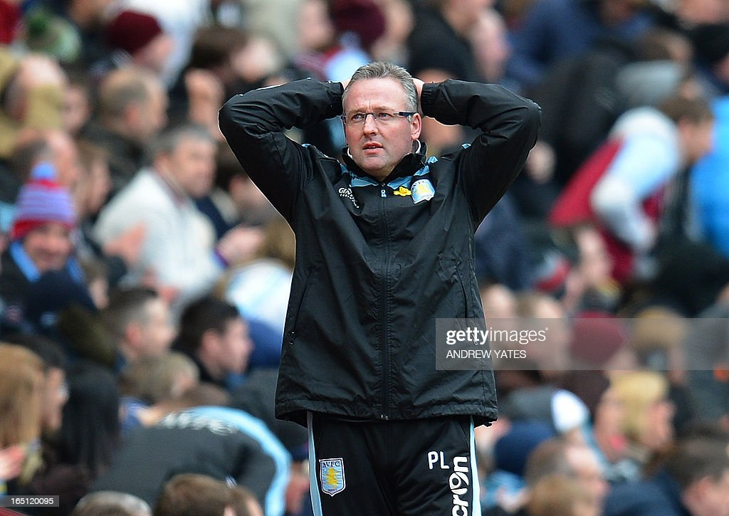 "Aston Villa's Scottish manager Paul Lambert reacts during the English Premier League football match between Aston Villa and Liverpool at Villa Park in Birmingham, West Midlands, England on March 31, 2013. USE. No use with unauthorized audio, video, data, fixture lists, club/league logos or ""live"" services. Online in-match use limited to 45 images, no video emulation. No use in betting, games or single club/league/player publications."