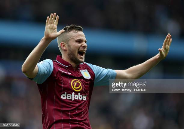 Aston Villa's Tom Cleverley celebrates after Christian Benteke scores his sides second goal of t he game