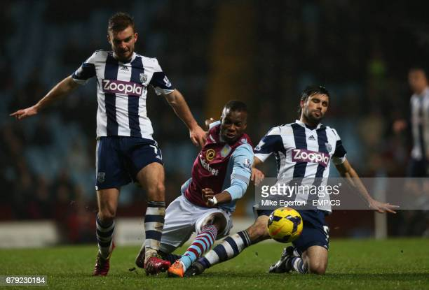 Aston Villa's Yacouba Sylia and West Bromwich Albion's James Morrison and Claudio Yacob battle for the ball