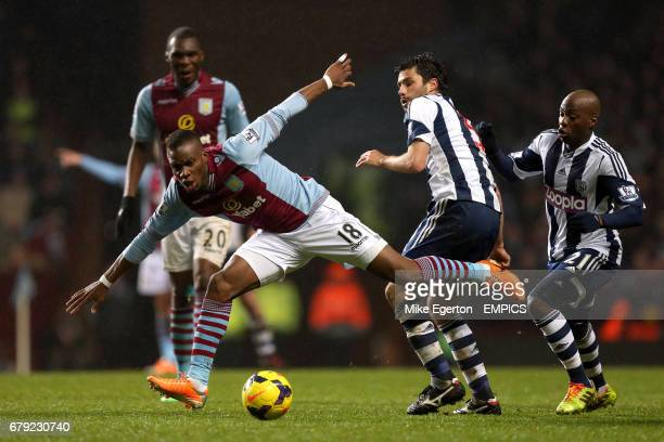 Aston Villa's Yacouba Sylla and West Bromwich Albion's Claudio Yacob battle for the ball