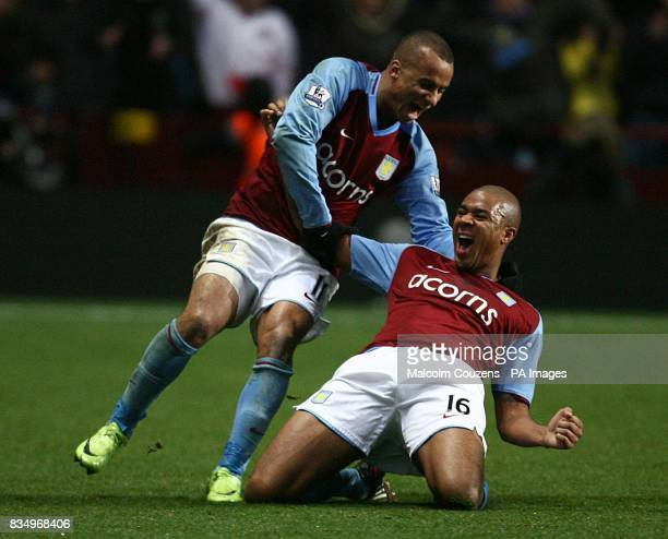 Aston Villa's Zat Knight celebrates with team mate Gabriel Agbonlahor after he score the equalising goal of the game