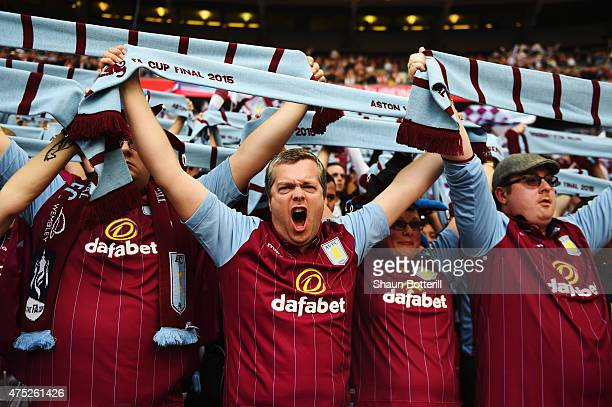 Aston Villla fans show their support prior to the FA Cup Final between Aston Villa and Arsenal at Wembley Stadium on May 30 2015 in London England