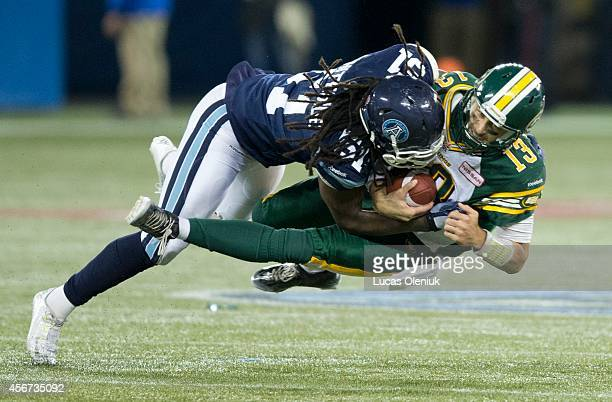 Aston Whiteside sacks Mike Reilly late in the 4th quarter and was flagged for roughing the passer leading to an Edmonton score The Toronto Argonauts...
