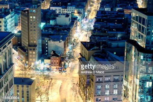 Astor place at night after snow, New York City