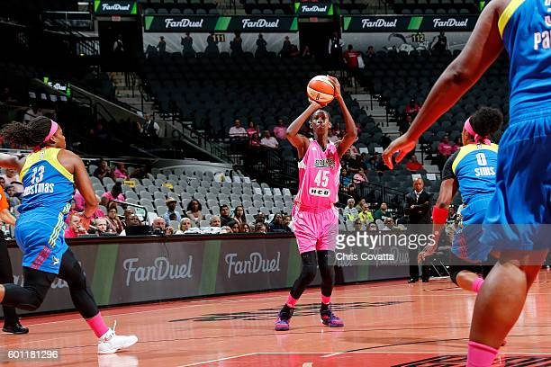 Astou Ndour of the San Antonio Stars shoots the ball during the game against the Dallas Wings during the WNBA game on September 9 2016 at the ATT...
