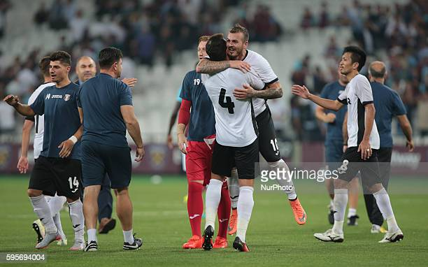 FC Astra Giurgiu Denis Alibec celebrates they win during Europa League playoff match between West Ham v FC Astra Giurgiu in London on August 27 2016